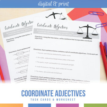 Coordinate Adjectives Task Cards