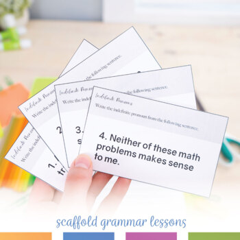 Distance Learning: Indefinite Pronouns Task Cards, Print or Digital Google Drive