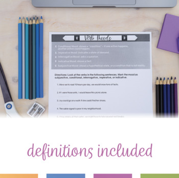 Moods in Verbs Worksheet and Posters