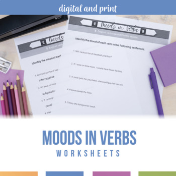 Moods in Verbs Worksheet and Posters by Language Arts Classroom