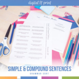 Simple and Compound Sentences Task Cards