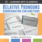 Subordinating Conjunctions and Relative Pronouns Task Cards
