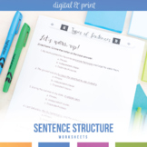 Sentence Structure Worksheets: Simple, Compound, Complex,