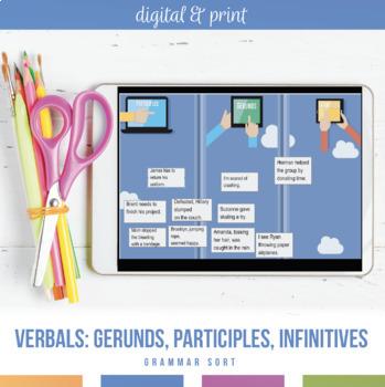 Verbals Gerunds, Infinitives, Participles: Worksheet and Scramble