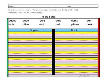 Grammar-----Singular & Plural Nouns---Paper for  Visual Perception Problems