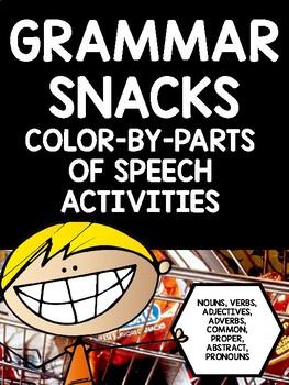 Grammar Snacks!! Color By Parts of Speech Grammar Mosaics
