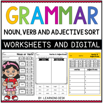 Grammar Worksheets Noun Verb Adjective Sort By Learning Desk Tpt