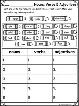 Grammar Worksheets (Noun Verb Adjective Sort)