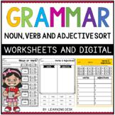 Grammar Parts of Speech Worksheets Google Noun Verb Adjective First Second Grade