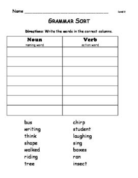 Grammar Sort Leveled