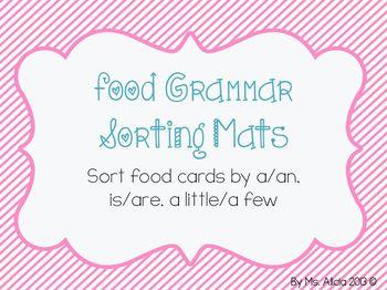 Grammar Sorting Mats Food Theme