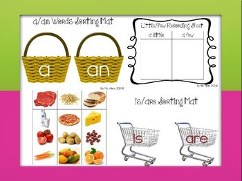 Grammar Sorting Mats Food Theme