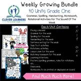 Grammar, Spelling, Handwriting, Sentence Work Weekly English Growing Bundle Gr 1