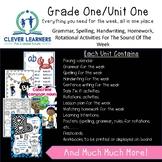 Grammar, Spelling, Handwriting, Sentence Writing/Editing English Grade 1 Unit 1