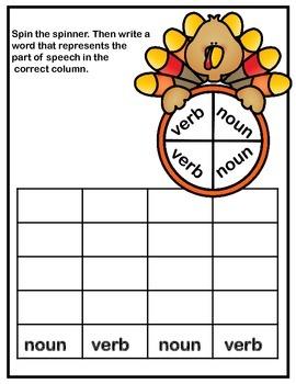 Grammar (Parts of Speech) Spin And Sort - Thanksgiving Turkeys