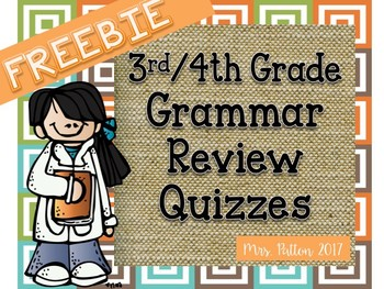 Grammar Spiral Review 3rd/4th Grade Homework, Morning Work, Quiz