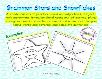 Grammar Stars and Snowflakes for Nouns, Verbs, Adjectives, Adverbs, & Sentences