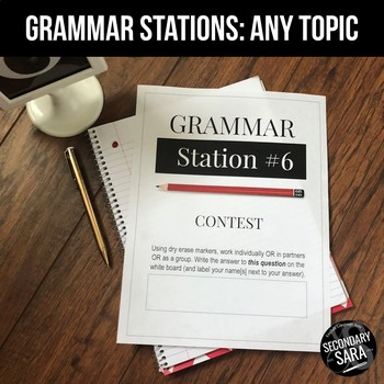 FREE Grammar Stations: EDITABLE Practice & Intervention for ANY Topic