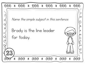 Grammar Subjects & Predicates Task Cards