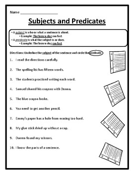 Grammar Subjects and Predicates Worksheets Subject and ...