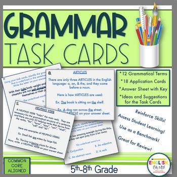 Grammar Task Cards-12 Grammatical Task Cards with 18 Application Cards