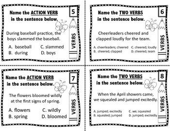 Grammar Task Cards: 24 Spring Themed Parts of Speech Cards