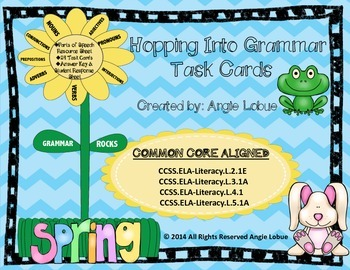 Grammar Task Cards: 24 Spring Themed Parts of Speech Cards
