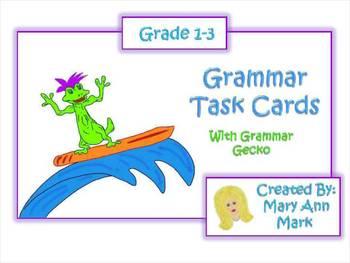 Grammar Task Cards: Action Verbs, Nouns and Adjectives Grade 1-3