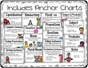 Grammar Task Cards Bundle with Anchor Charts & Games for Kindergarten Centers