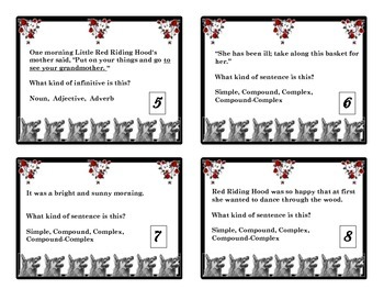 Grammar Task Cards Clauses, Phrases,  Sentence Types and Little Red Riding Hood