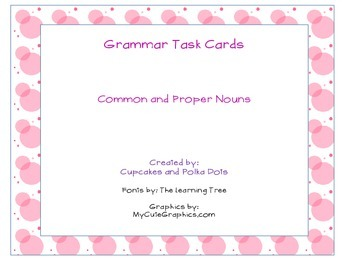 Grammar Task Cards Common and Proper nouns