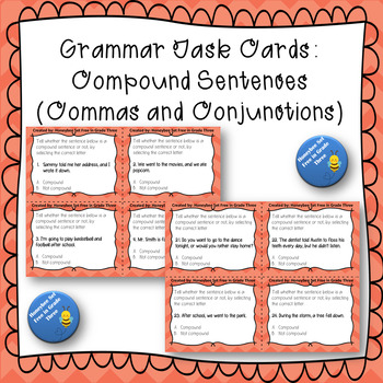 Grammar Task Cards Compound Sentences