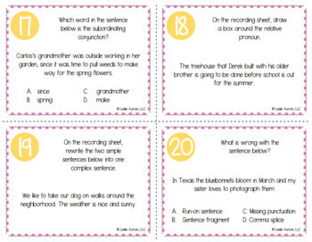 Spring Grammar Task Cards for Test Prep and Review