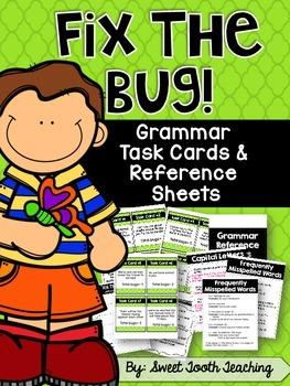 "Grammar Task Cards ""Fix the Bug"""
