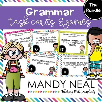 Grammar Task Cards, Games, and Centers ~ The Bundle