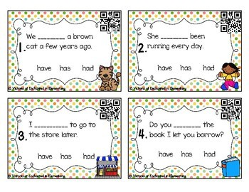 Grammar Task Cards: Have, Has, Had Set
