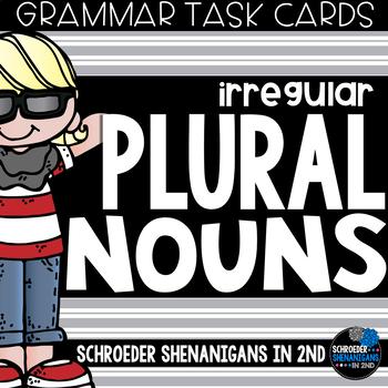 Grammar Task Cards - IRREGULAR PLURAL NOUNS {y to ies, f to ves, no change}
