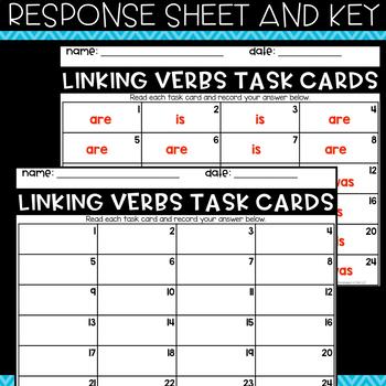 Grammar Task Cards - Linking Verbs