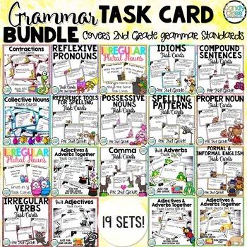 Grammar Task Cards Mega Bundle for Second Grade (Common Co