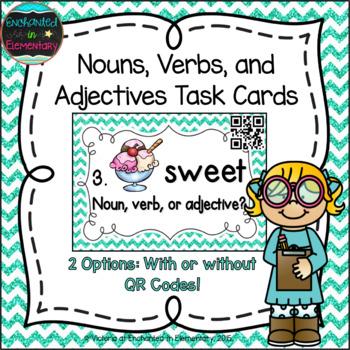 Grammar Task Cards: Nouns, Verbs, and Adjectives Set