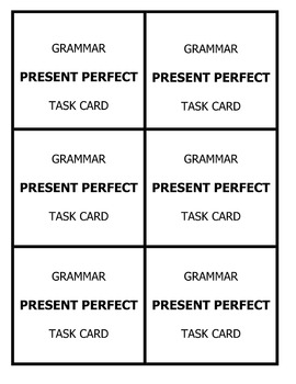 Grammar Task Cards - PRESENT PERFECT TENSE - Cell Phone Layout!