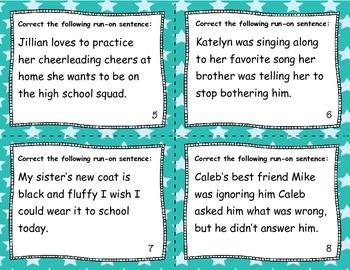 Grammar Task Cards: Run-on Sentences and Fragments