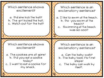 Grammar Task Cards Sentences that show Excitement_Exclmatory