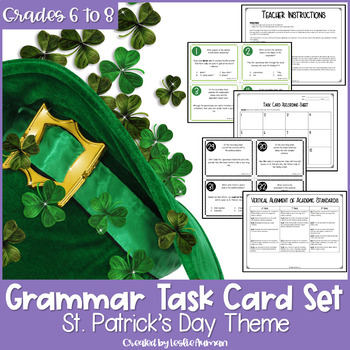 Grammar Task Cards | St. Patricks Day Activities | Grammar Review