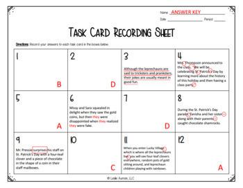St. Patrick's Day Grammar Task Cards