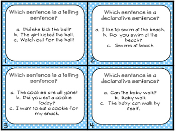Grammar Task Cards Telling_Declarative Sentences