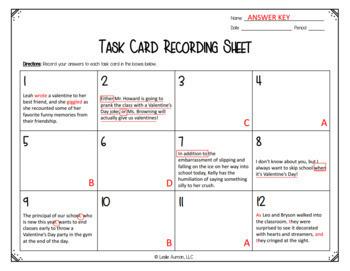 Grammar Task Cards   Valentines Day Activities   Grammar Review