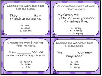 Grammar Task Cards Verbs that Do Not add -s