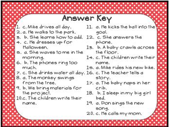Grammar Task Cards Verbs that add -s