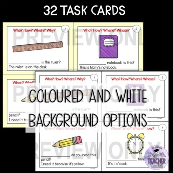 Question words Grammar Task Cards 2 (WH question words)